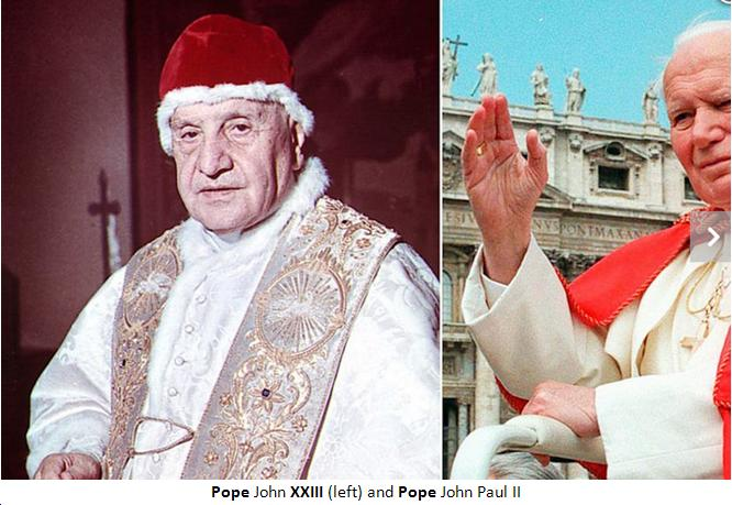 HISTORICAL CANONISATION OF TWO POPES BY TWO LIVING POPES